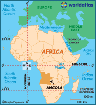 Map of location of Angola