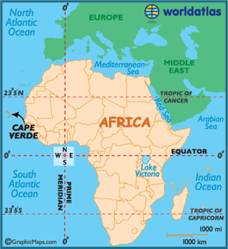 Map of location of Cape Verde