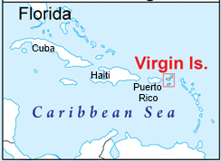 Map of location of US Virgin Islands