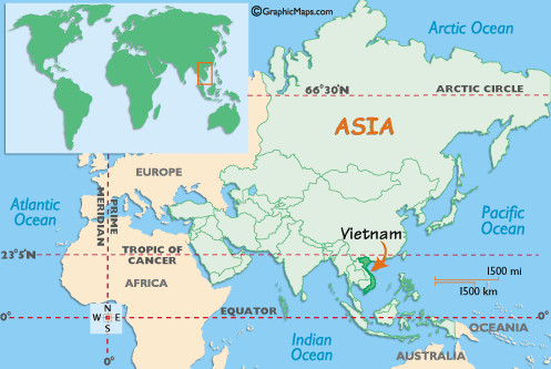 Map of location of Vietnam
